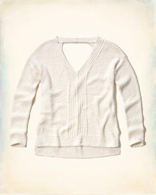Open-Back Pullover Sweater