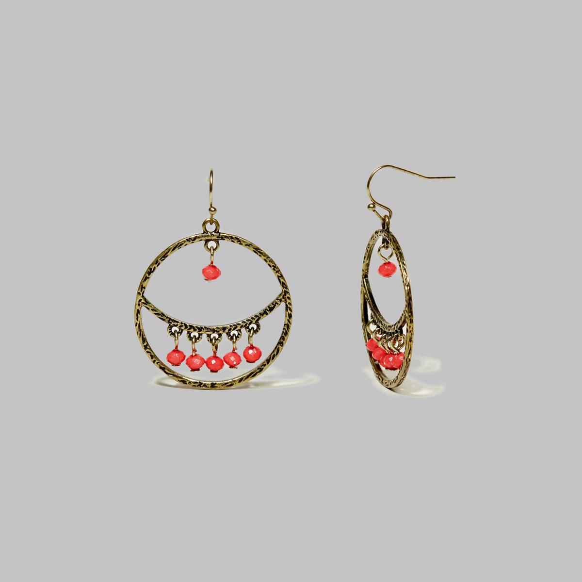 Golden Coral Hoop Earrings
