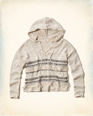 Lace-Up Fringe Baja Sweater