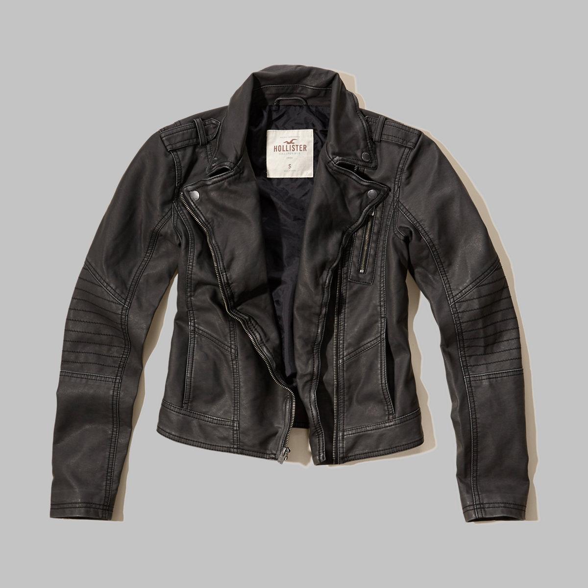 Washed Faux Leather Biker Jacket