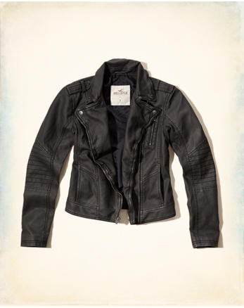 hol Washed Faux Leather Biker Jacket