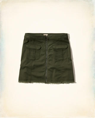 Front-Zip Military Twill A-Line Skirt
