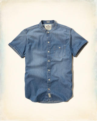Banded Collar Denim Shirt