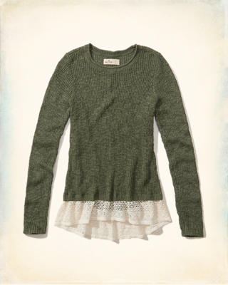 Lace Hem Pullover Sweater