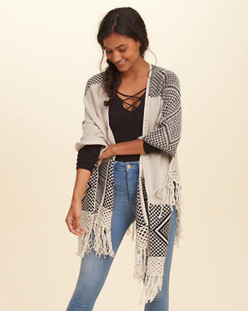 Patterned Fringe Poncho