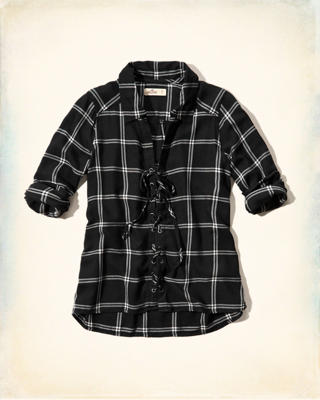 Lace-Up Plaid Shirt