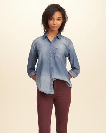 Medium Wash Easy Denim Shirt