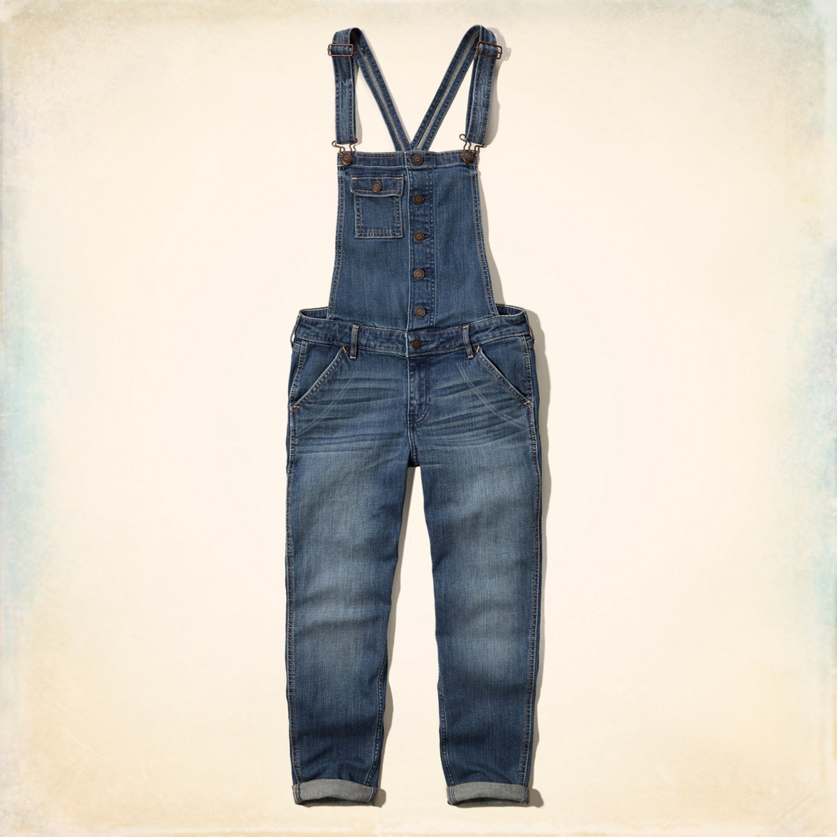 Skinny Cropped Denim Overalls