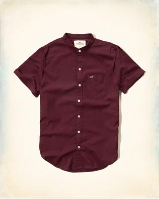 Banded Collar Oxford Shirt