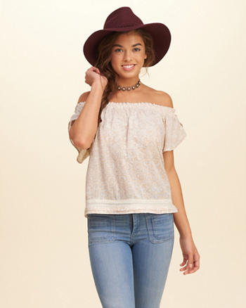 Tulip Sleeve Off-The-Shoulder Top