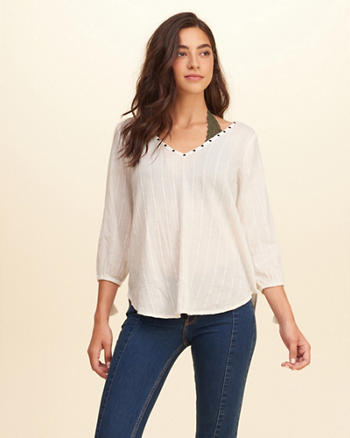 Strappy Back Peasant Top