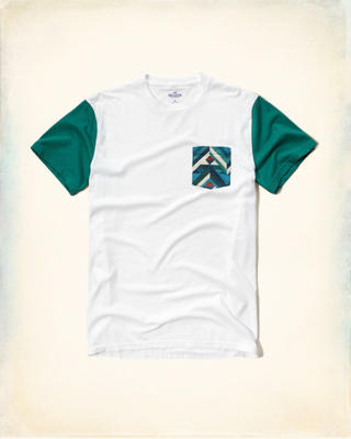 Patterned Pocket Colorblock T-Shirt