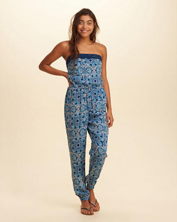 Lace-Trim Strapless Jumpsuit