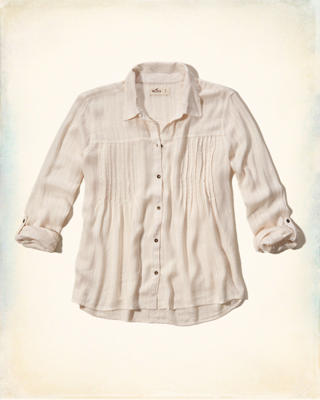 Pintuck Button Front Shirt