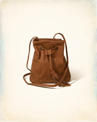 Vegan Leather Tassel Bucket Bag