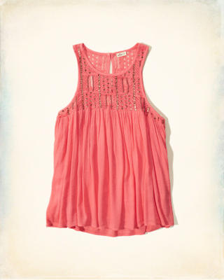 Shine Embroidery Lace Tank