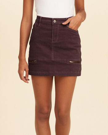 High Rise Sateen Mini Skirt