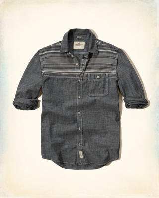 Patterned Yoke Chambray Pocket Shirt