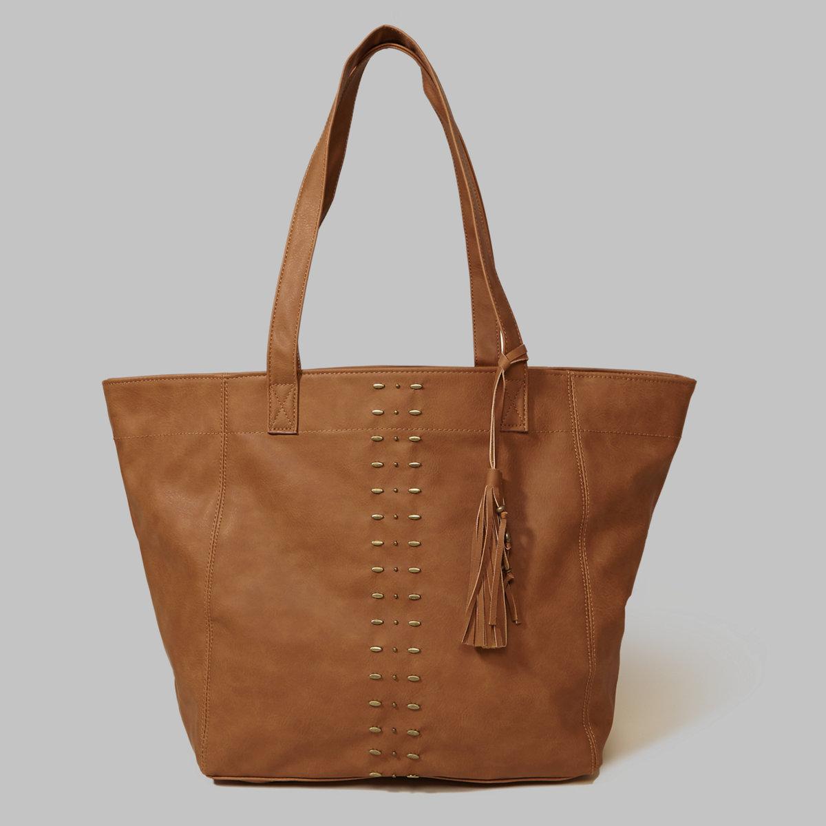 Vegan Leather Tassel Tote Bag