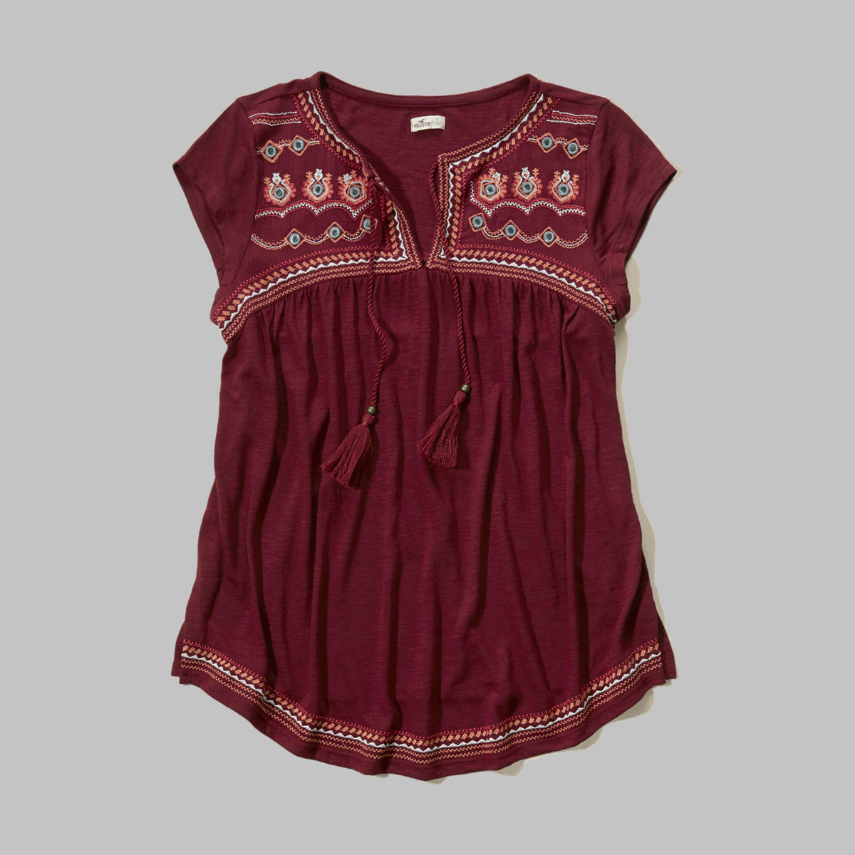 Shine Embroidery Cap-Sleeve Peasant Top