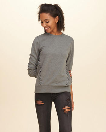 Lace-Up Crew Sweatshirt