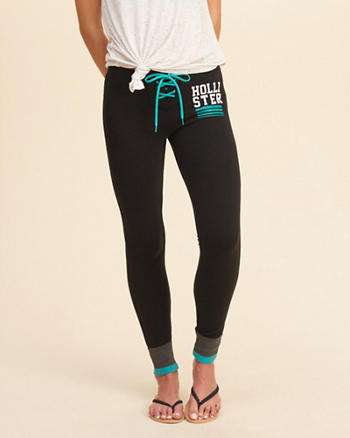 Hollister Graphic Lace-Up Fleece Leggings