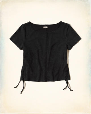 Vegan Suede Lace-Up T-Shirt