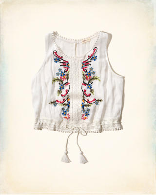 Cropped Embroidered Peasant Tank