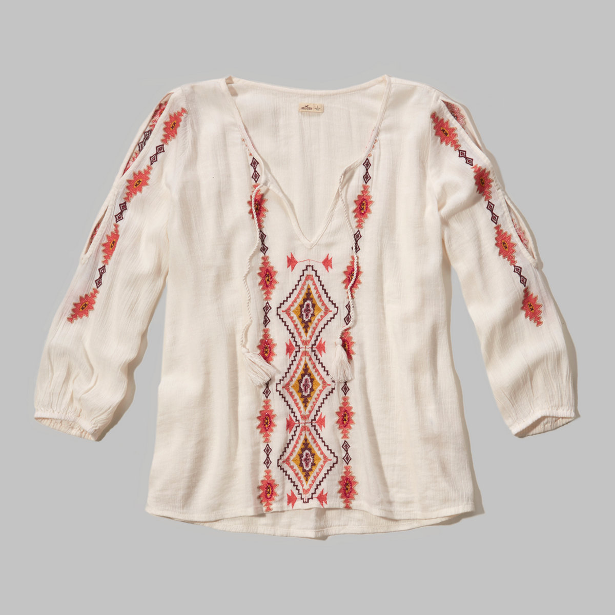 Shine Embroidery Peasant Top