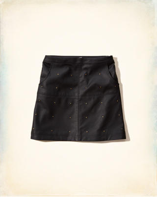 Studded Vegan Leather A-Line Skirt