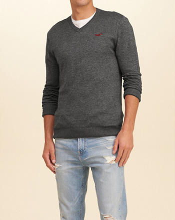 Textured V-Neck Icon Sweater