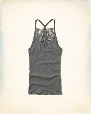 Lace Panel High Neck Tank