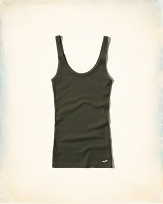 Ribbed Slim Scoop Tank