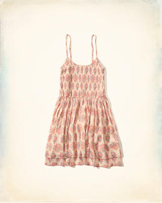 Printed Smocked Skater Dress