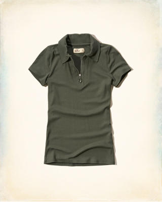 Ribbed Zip Polo
