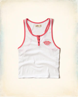 Cropped Graphic Henley Tank