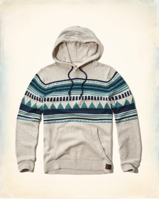 Patterned Hooded Sweater