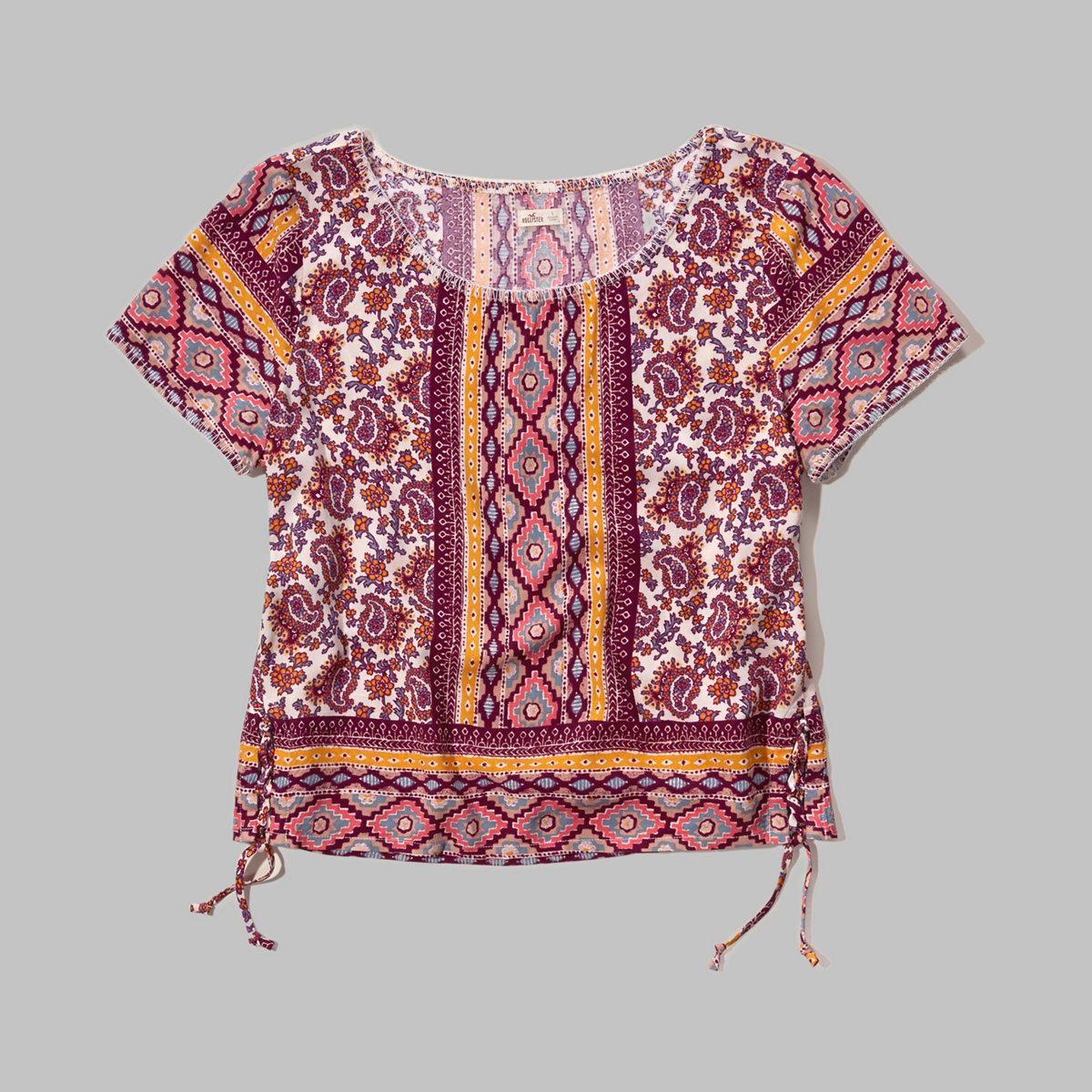 Printed Rayon Lace-Up T-Shirt