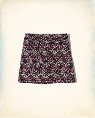 Printed Twill A-Line Skirt
