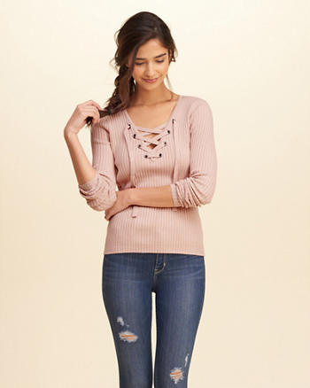 Lace-Up Ribbed Sweater