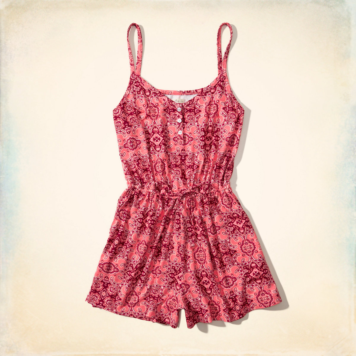 Printed Knit Henley Romper