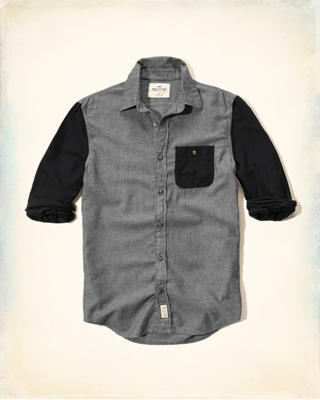 Colorblock Brushed Cotton Shirt