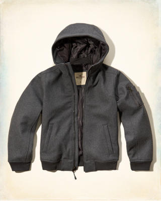 Hooded Wool-Blend Bomber Jacket