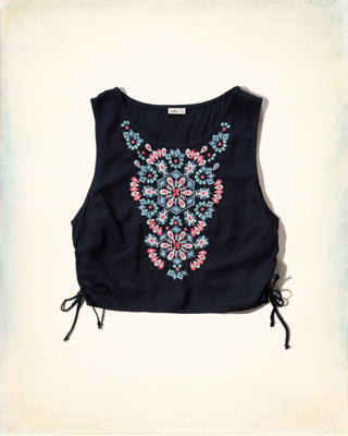 Embroidered Side-Tie Crop Top