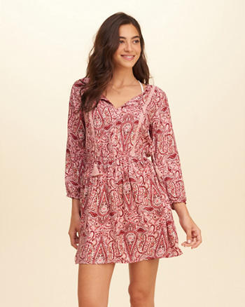 Printed Easy Waist Peasant Dress