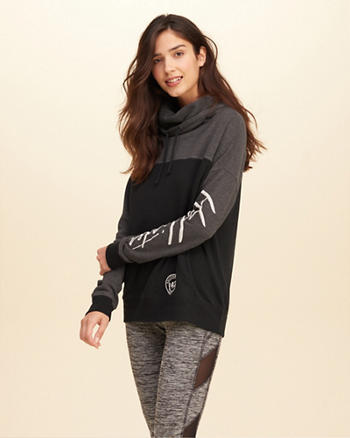 Cowl Neck Colorblock Graphic Sweatshirt