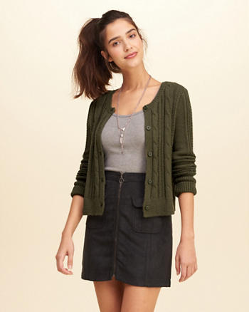 Cropped Cable Cardigan