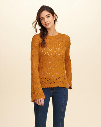 Bell Sleeve Open-Stitch Sweater