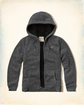 Sherpa Lined Textured Hoodie