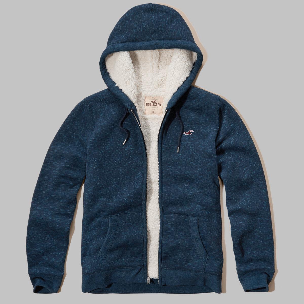 Sherpa Lined Textured Hoodie